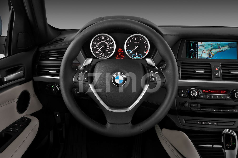 Steering wheel view of a 2010 BMW Active Hybrid X6