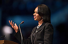 Mar. 4, 2015; Dr. Condoleezza Rice, former United States Secretary of State, speaks during a tribute ceremony in the Purcell Pavilion to honor the life of the late President Emeritus Rev. Theodore M. Hesburgh, C.S.C. (Photo by Barbara Johnston/University of Notre Dame)