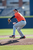 Illinois Fighting Illini pitcher Andrew Hoffman (35) delivers a pitch to the plate during the NCAA baseball game against the Michigan Wolverines on March 19, 2021 at Fisher Stadium in Ann Arbor, Michigan. Illinois won the game 7-4. (Andrew Woolley/Four Seam Images)