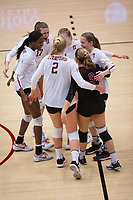STANFORD, CA - November 15, 2017: Tami Alade, Kathryn Plummer, Merete Lutz, Meghan McClure, Jenna Gray, Morgan Hentz at Maples Pavilion. The Stanford Cardinal defeated USC 3-0 to claim the Pac-12 conference title.