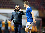 Motherwell v St Johnstone…20.02.21   Fir Park   SPFL<br />Callum Davidson and Jason Kerr fist pump at full time<br />Picture by Graeme Hart.<br />Copyright Perthshire Picture Agency<br />Tel: 01738 623350  Mobile: 07990 594431