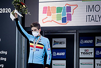 Wout van Aert (BEL/Jumbo-Visma) becomes 2nd a 2nd time in 3 days & takes (his 2nd) silver<br /> <br /> Men's Elite Road Race from Imola to Imola (258km)<br /> <br /> 87th UCI Road World Championships 2020 - ITT (WC)<br /> <br /> ©kramon