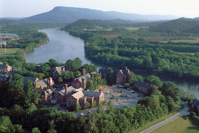 Baylor School on the banks of the Tennessee River w/ Lookout Mountain in background.