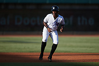 Luis Mieses (13) of the Winston-Salem Dash takes his lead off of second base against the Hudson Valley Renegades at Truist Stadium on August 28, 2021 in Winston-Salem, North Carolina. (Brian Westerholt/Four Seam Images)