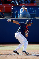 Carlos Lopez #17 of the Cal State Fullerton Titans bats against the Nebraska Cornhuskers at Goodwin Field on February 16, 2013 in Fullerton, California. Cal State Fullerton defeated Nebraska 10-5. (Larry Goren/Four Seam Images)