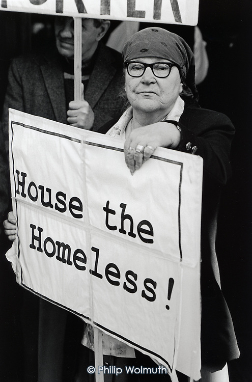 """Protesters outside Westminster City Hall wait for the release of the District Audotor's final report into the """"Homes for Votes"""" scandal."""