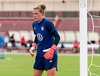 HOUSTON, TX - JUNE 12: Alyssa Naeher #1 of the USWNT looks to the ball during a training session at University of Houston on June 12, 2021 in Houston, Texas.