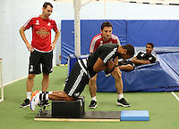 STUART JAMES STORY<br /> Pictured: Ashley Williams on the Nord board Tuesday 30 June 2015<br /> Re: Pre-season assessment of Swansea City FC players on the grounds of Swansea University, south Wales, UK