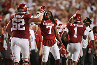Arkansas players celebrate a score, Saturday, September 11, 2021 during the third quarter of a football game at Reynolds Razorback Stadium in Fayetteville. Check out nwaonline.com/210912Daily/ for today's photo gallery. <br /> (NWA Democrat-Gazette/Charlie Kaijo)