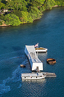 A view of the USS Arizona Memorial during a morning helicopter tour over O'ahu.