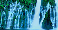 906500016 panoramic view -  mcarthur burney state park california burney falls a spring fed perpetual waterfall cascades over a cliff face and down through a river of large boulders