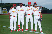(L-R) Devante Lacy (5), Anthony Ray (3), Oscar Mercado (4) and Chris Rivera (11) pose for a photo prior to the game against the Elizabethton Twins at Cardinal Park on July 27, 2014 in Johnson City, Tennessee.  (Brian Westerholt/Four Seam Images)