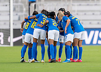 ORLANDO, FL - FEBRUARY 24: Brazil huddles during a game between Brazil and Canada at Exploria Stadium on February 24, 2021 in Orlando, Florida.