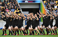 11th October 2020; Sky Stadium, Wellington, New Zealand;   TJ Perenara leads the All Blacks haka uring the Bledisloe Cup rugby union test match between the New Zealand All Blacks and Australia Wallabies.