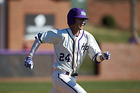 Conner Dunbar (24) of the High Point Panthers hustles down the first base line against the NJIT Highlanders at Williard Stadium on February 19, 2017 in High Point, North Carolina. The Panthers defeated the Highlanders 6-5. (Brian Westerholt/Four Seam Images)