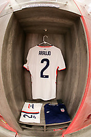 GUADALAJARA, MEXICO - MARCH 24: The locker of Julian Araujo #2 of the United States before a game between Mexico and USMNT U-23 at Estadio Jalisco on March 24, 2021 in Guadalajara, Mexico.