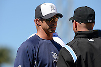 Detroit Tigers manager Brad Ausmus (7) questions a call during a spring training game against the Miami Marlins on March 13, 2014 at Joker Marchant Stadium in Lakeland, Florida.  Miami defeated Detroit 4-2.  (Mike Janes/Four Seam Images)