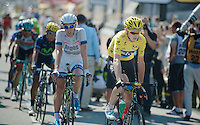 Chris Froome (GBR) crossing the finishline surprisingly losing over a minute of his time over his competitors<br /> <br /> Tour de France 2013<br /> stage 13: Tours to Saint-Amand-Montrond, 173km