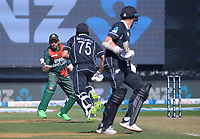 Bangaladesh keeper Mushfiqur Rashmin juggleds the ball as Daryl Mitchell makes his 100th run on the final ball during the third One Day International cricket match between the New Zealand Black Caps and Bangladesh at the Basin reserve in Wellington, New Zealand on Friday, 26 March 2021. Photo: Dave Lintott / lintottphoto.co.nz