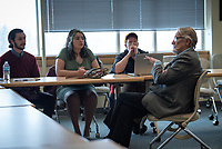 Nobel laureate and UAA's first Rasmuson Chair of Economics Dr. Vernon Smith participates in a Q&A with College of Business and Public Policy students in UAA's Rasmuson Hall.