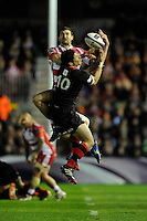 Jonny May of Gloucester Rugby and Phil Burleigh of Edinburgh Rugby compete in the air
