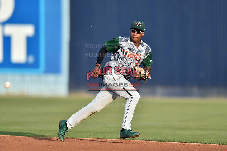Augusta GreenJackets second baseman Jalen Miller (5) reacts to the ball during a game against the Asheville Tourists at McCormick Field on July 21, 2016 in Asheville, North Carolina. The GreenJackets defeated the Tourists 6-3. (Tony Farlow/Four Seam Images)