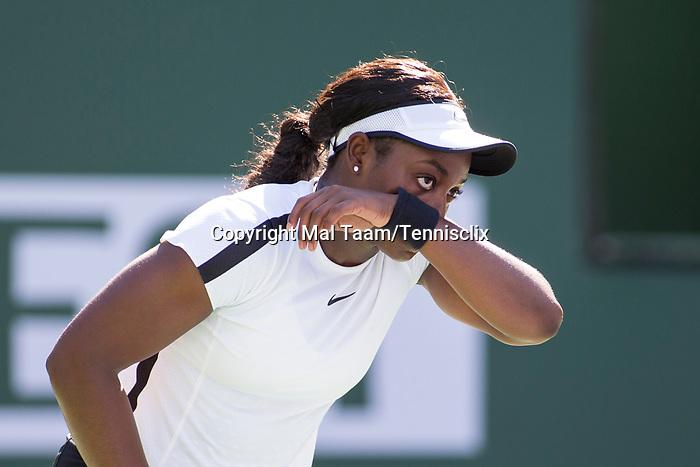 March 11, 2018: Sloane Stephens (USA) defeated Victoria Azarenka (BLR) 6-1, 7-5 at the BNP Paribas Open played at the Indian Wells Tennis Garden in Indian Wells, California. ©Mal Taam/TennisClix/CSM