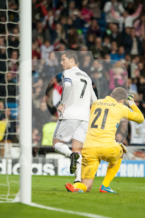 Cristiano Ronaldo of Real Madrid during Champions League match between Real Madrid and Ludogorets at Santiago Bernabeu Stadium in Madrid, Spain. December 09, 2014. (ALTERPHOTOS/Luis Fernandez)