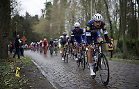 Tom Boonen (BEL/Etixx-QuickStep) taking the lead over the cobbles<br /> <br /> 104th Scheldeprijs 2016