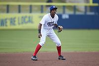Kannapolis Cannon Ballers third baseman DJ Gladney (8) on defense against the Down East Wood Ducks at Atrium Health Ballpark on May 4, 20121in Kannapolis, North Carolina. (Brian Westerholt/Four Seam Images)