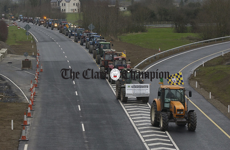 A view of some of the many Clare Tractors which headed for Limerick on the second day of the IFA's national Tractor Rally protest. Photoigraph by John Kelly.