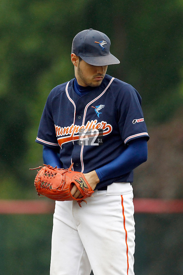 17 July 2011: Starting pitcher Joris Navarro of the Montpellier Barracudas pitches against Rouen during the 2011 Challenge de France match won 3-1 by the Rouen Huskies over the Montpellier Barracudas at Stade Pierre Rolland, in Rouen, France.