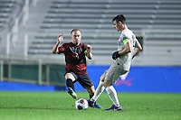 CARY, NC - DECEMBER 13: Dylan Nealis #12 of Georgetown University is defended by Derek Waldeck #4 of Stanford University during a game between Stanford and Georgetown at Sahlen's Stadium at WakeMed Soccer Park on December 13, 2019 in Cary, North Carolina.