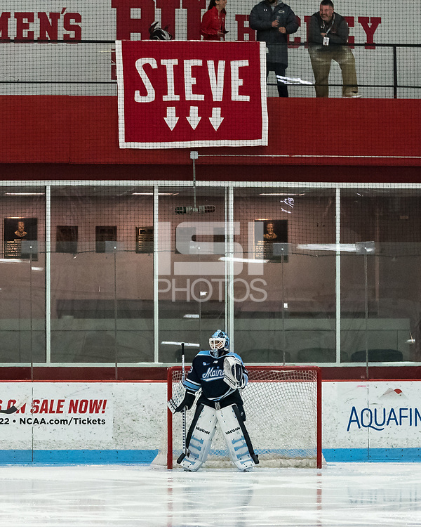 """BOSTON, MA - JANUARY 04: Fans """"taunt"""" visiting goalie, Carly Jackson #33 of University of Maine during a game between University of Maine and Boston University at Walter Brown Arena on January 04, 2020 in Boston, Massachusetts."""