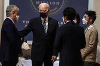 United States President Joe Biden visits a vaccination site in the Immanuel Chapel at the Virginia Theological Seminary in Alexandria, Virginia on Tuesday, April 6, 2021. The President said he expects a significant portion of the population to be vaccinated by the end of the summer. <br /> CAP/MPI/RS<br /> ©RS/MPI/Capital Pictures