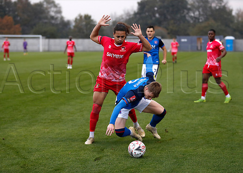 8th November 2020; SkyEx Community Stadium, London, England; Football Association Cup, Hayes and Yeading United versus Carlisle United; Jordan Norville-Williams of Hayes & Yeading United challenges George Tanner of Carlisle United