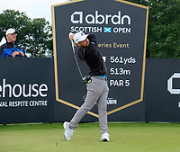 7th July 2021; North Berwick, East Lothian, Scotland; Xander Schauffele USA on the 7th tee during the Celebrity Pro-Am at the abrdn Scottish Open at The Renaissance Club, North Berwick, Scotland.