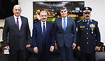 Palestinian Prime Minister Mohammed Ishtayeh attends the ceremony of handing over and receiving the police command from the director general of the apparatus, Major General Hazem Atallah, to the new director, Major General Youssef Al-Helou, in the West Bank city of Ramallah on October 5, 2021. Photo by Prime Minister Office
