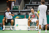 10-02-13, Tennis, Rotterdam, qualification ABNAMROWTT, Both finalist from last year, Federer and Del Potro training together