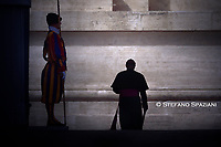 Monsignor Georg Ganswein Walk under the Arch of the Bells, to return home after the general audience of Pope Francis during of a weekly general audience at St Peter's square in Vatican, Wednesday.September 25, 2019