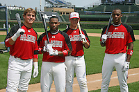 August 8, 2009:  Home Run Derby members Stetson Allie, Reggie Golden, Austin Southall, and Austin Wilson for the Under Armour All-America game at Wrigley Field in Chicago, IL.  Photo By Mike Janes/Four Seam Images