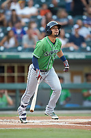 Rafael Ortega (5) of the Gwinnett Braves starts down the first base line against the Charlotte Knights at BB&T BallPark on July 12, 2019 in Charlotte, North Carolina. The Stripers defeated the Knights 9-3. (Brian Westerholt/Four Seam Images)