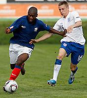 Soccer, UEFA U-17.France Vs. England.Jordan Ikoko;, left and Alex Henshall.Indjija, 03.05.2011..foto: Srdjan Stevanovic