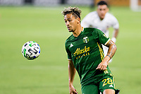 CARSON, CA - OCTOBER 07: Pablo Bonilla #28 of the Portland Timbers moves to the ball during a game between Portland Timbers and Los Angeles Galaxy at Dignity Heath Sports Park on October 07, 2020 in Carson, California.