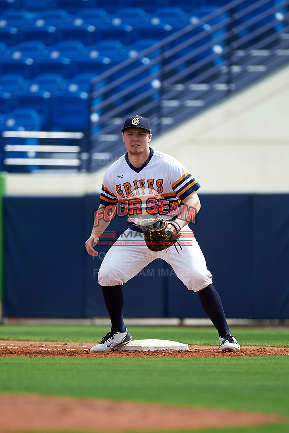Canisius College Golden Griffins first baseman Ryan Stekl (15) during the first game of a doubleheader against the Michigan Wolverines on February 20, 2016 at Tradition Field in St. Lucie, Florida.  Michigan defeated Canisius 6-2.  (Mike Janes/Four Seam Images)