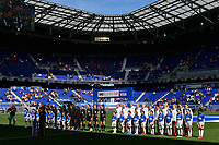 HARRISON, NJ - MARCH 08: Japan and England  during the playing of the national anthem during a game between England and Japan at Red Bull Arena on March 08, 2020 in Harrison, New Jersey.