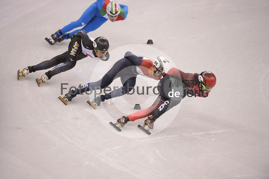 OLYMPIC GAMES: PYEONGCHANG: 17-02-2018, Gangneung Ice Arena, Short Track, Quarterfinals 1000m Men, Samuel Girard (CAN), Kazuki Yoshinaga (JPN), Itzhak de Laat (NED), ©photo Martin de Jong