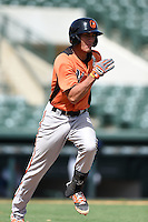 Baltimore Orioles catcher Alfredo Gonzalez (57) during an Instructional League game against the Tampa Bay Rays on September 15, 2014 at Ed Smith Stadium in Sarasota, Florida.  (Mike Janes/Four Seam Images)