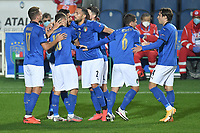 Lorenzo Pellegrini of Italy celebrates after scoring a goal during the Uefa Nation League Group Stage A1 football match between Italy and Netherlands at Atleti azzurri d Italia Stadium in Bergamo (Italy), October, 14, 2020. Photo Andrea Staccioli / Insidefoto