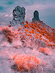 Chimney Rock, Colorado (Infrared) ©2017 James D Peterson.  These two giant hoodoos, towering above a valley west of Pagosa Springs, look like a single spire when viewed from the east.  They are visible from a great distance atop a ridge in a National Monument that is also the site of ruins left by ancestral Pueblo Indians.